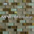 Crystal Glass mix Stainless Steel and Stone Mosaic Tile