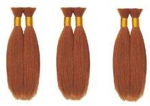 brown color silky straight synthetic hair bulk NYSBULK-2