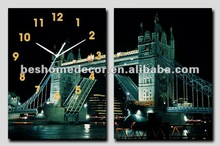 modern landscape wall painting with clock