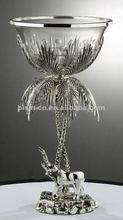 Noce di cocco e palma elefante supporto di candela, deserto oasi candela stand, rame e argento placcato ( b50468 )