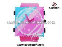Fashion plastic stamp watch square stamp watch Japan quartz watch