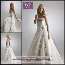 AWM-039 Custom made elegant strapless Modest Strapless A-Line long Wedding Gowns 2014