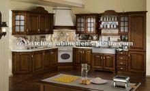 Popular Log color Wood kitchen cabinet