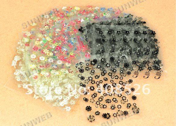 Pretty 50x 3D Design Tip Nail Art Sticker Decal Manicure Mix Color Flower Wholesale 917