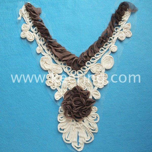 cotton neck trim , lace motif,garment patch WNL-913