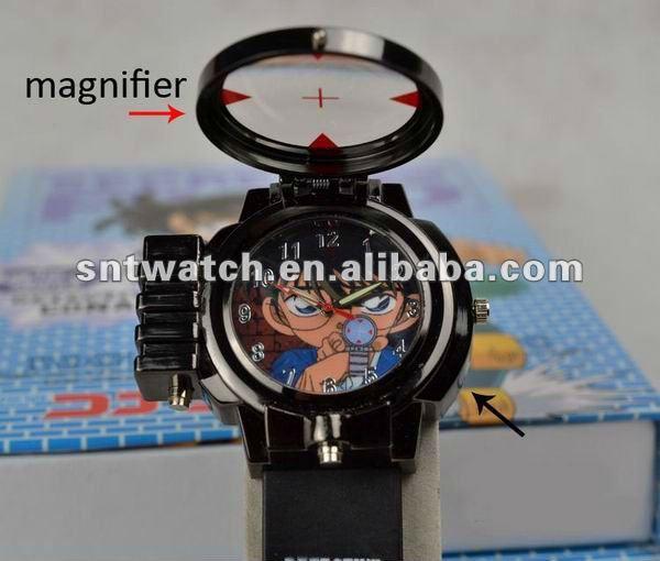 정 코난 만화 아이 시계 레이저 시계