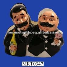 Cute Two Waiters Ceramic Napkin Holder