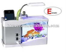 Mini aquarium fish tank with clock,penholder