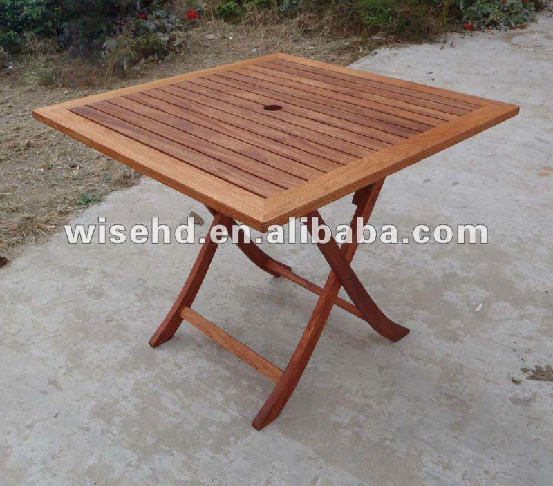 mesa jardim dobravel:qf900) dobrável de madeira mesa de jardim quadrado-Mesa