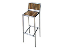 teakwood seat stainless steel barstool patio chair