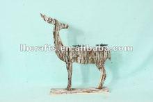 deer wooden decorative floor candle stand