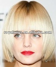 Light Blond Bob Wigs Short Human Hair Wigs Dark Roots Wig