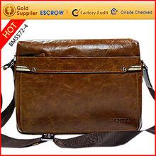 Fashion and durable men's leather shoulder long strap bag
