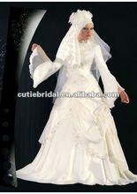 MW011 Taffeta Long Sleeve Muslim Arabic Wedding Gown