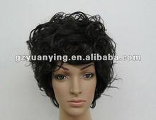 Black fashion men's curly wigs