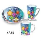 X'mas design ceramic mugs and porcelain dessert plates