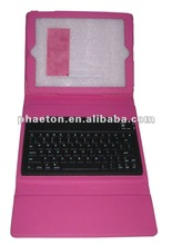 Pink Color for ipad 2 Leather Case with Wireless Bluetooth Keyboard