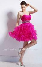 2012fancy sleeveless beading corset wine red short bridesmaid dress 2012