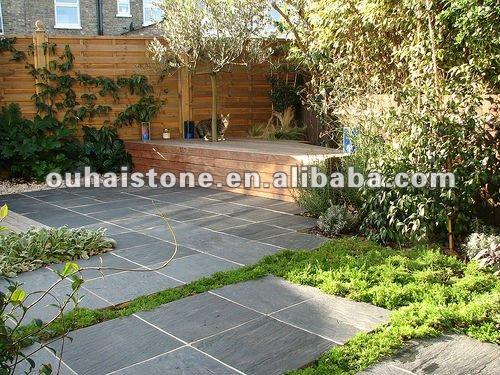 banco de jardim ardosia : banco de jardim ardosia:Construir um bela casa exterior jardim piso de ardósia telhas