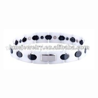 Mens Fashionable Hi-tech White Ceramic Magnetic Healthy Wrist Bracelet
