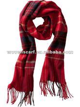 XZ-L0035 red acrylic/wool plaid scarf