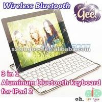 3 in 1 (Wireless Bluetooth Keyboard+Aluminum Case+for iPad2 Stand) Aluminum bluetooth keyboard for iPad 2