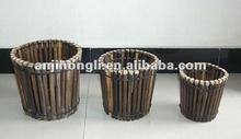 Outdoor wooden ornamental flowerpots