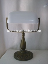 Vintage LED table lamp, banker lamp rechargeable