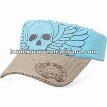 Sun Visor Cap with Flax Material Peak, Customized Embroidery are Accepted