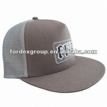 Baseball Cap, Made of Canvas and Mesh, with Flat Visor and Embroidered Logo
