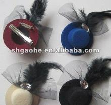 fashion cute hairpins/hair clips /hat hair pins / Fashion Kids Feather Mini Hat Hairpin Hair Accessories