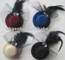hairpin air top cap / fashion red feather hair pin / Decorative cap hairpin