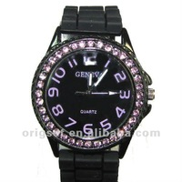 New Colorful diamond silicon watch