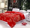Tradicional china de la boda 100% de algodón y 90% de cachemira hecho a mano de color rojo edredones/cobijas