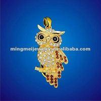 8 GB Golden Night Owl Crystal Diamond Jewelry USB Flash Memory Drive Necklace