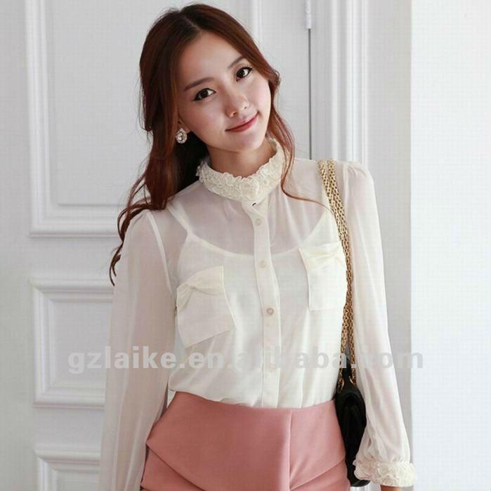 de moda y elegante blusa de gasa para las mujeres 2012
