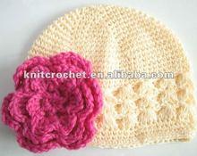 Hand Crochet Flower Infant Toddler Girl Beanie Kufi Hat Cap