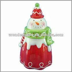 snowman shaped ceramic sweet candy jar