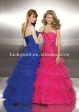 Vintage Multi-layered Ruffle Royal Blue Balo elbisesi