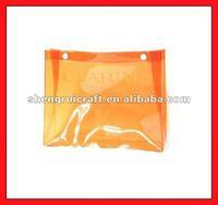 Orange Button Closed Vinyl Clear Cosmetic Bag