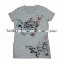 Newest Women's Fashionable Printing T shirt with Beads and Embroidery