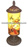 Tall hand painted glass cylinder table lamp,RH-50550