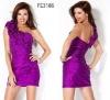 FE3186 New Purple One Shoulder Flower Chiffon Cocktail Dress