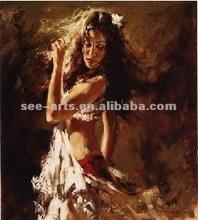 handmade beautiful dancing girl painting oil,canvas oil painting