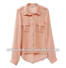 Lady shirt long sleeve chiffon pink blouse chest pockets 2013