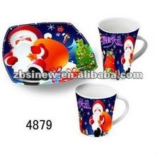 Snowman design ceramic coffee mug and dessert plate