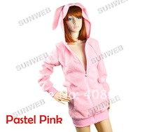 2012 Fashion New Women's Bunny Ears Warm Sherpa Lady Hoodie Jacket Coat tops Outerwear 3275