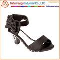 2015 fashion design kids high heel sandals with flower
