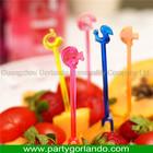 disposable plastic cocktail animal fruit forks 85mm