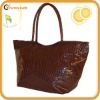 Stylish brown or black crocodile finish leather travel tote bag